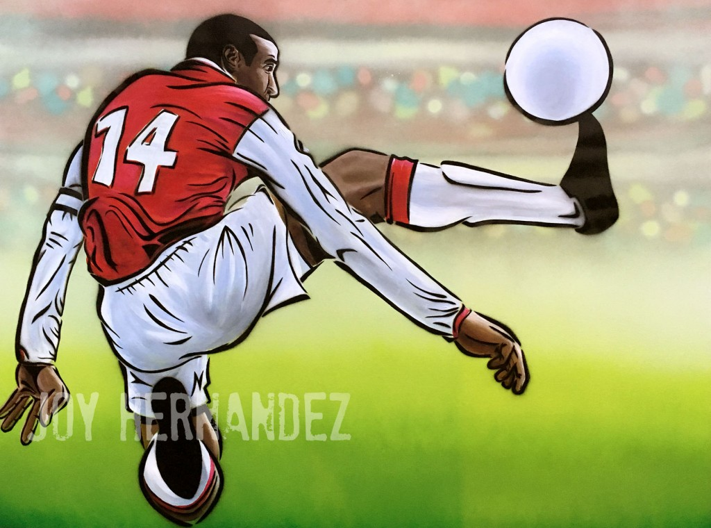 """Thierry Henry,"" Acrylic & Aerosol, 36 in. x 48 in.  COMMISSION"